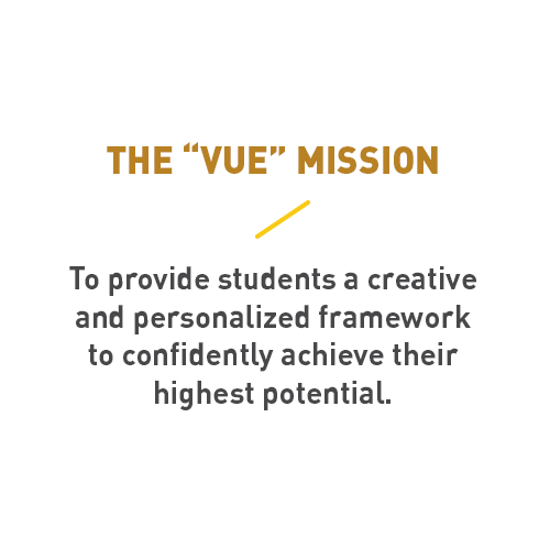 the 'vue' mission. to provide students a creative and personalized framework to confidently achieve their highest potential.